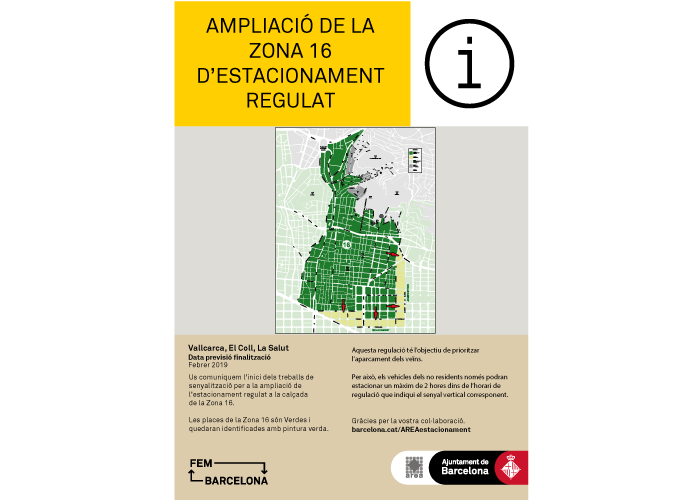 Extension of regulated parking for residents of Zone 16 (District of Gràcia)