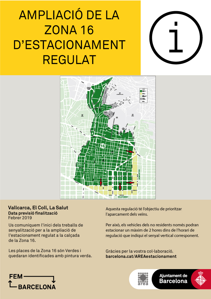Ampliació de l'estacionament regulat de residents de la Zona 16 (Districte Gràcia)